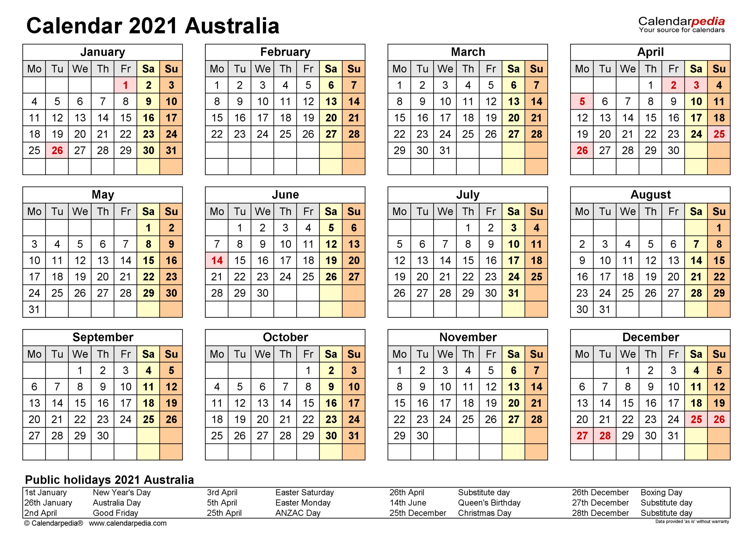 Australia Calendar 2021 - Free Printable Pdf Templates  Aus 2021-2021 Financial Year Period