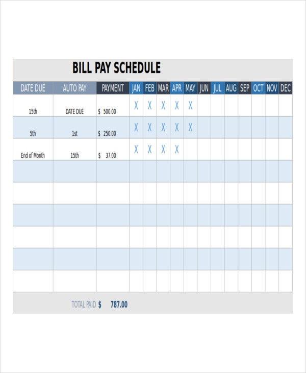 Bill Payment Schedule Template - 13+ Free Word, Pdf Format  Bill Payment Calendar Pdf