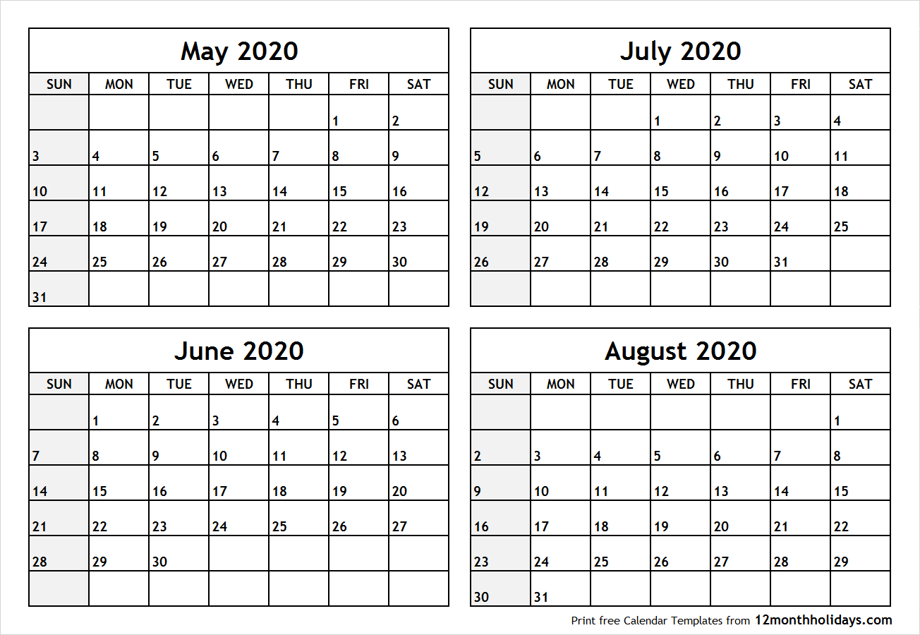 Blank Calendar Template June July August 2020 | Example  May June July With Notes Printable