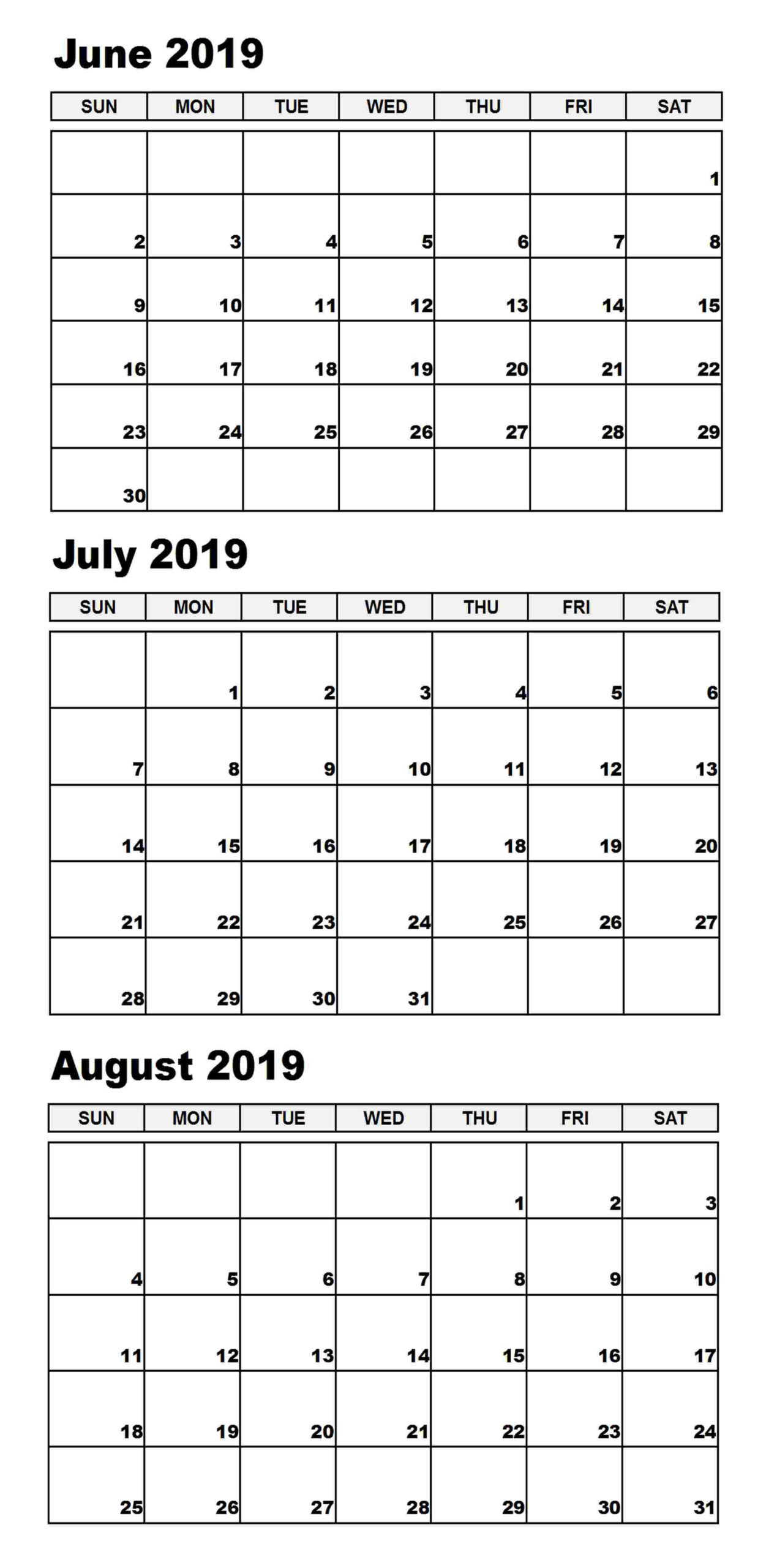 Blank June July 2019 Calendar Printable Template   Magic  May June July With Notes Printable