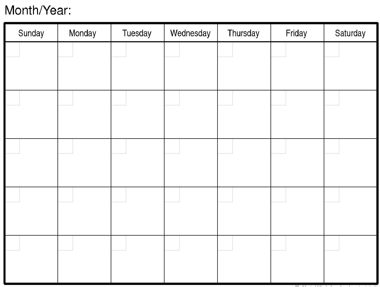 Blank Monthly Calendar Print Out :-Free Calendar Template  Free Printable Blank Monthly Calendar Templates