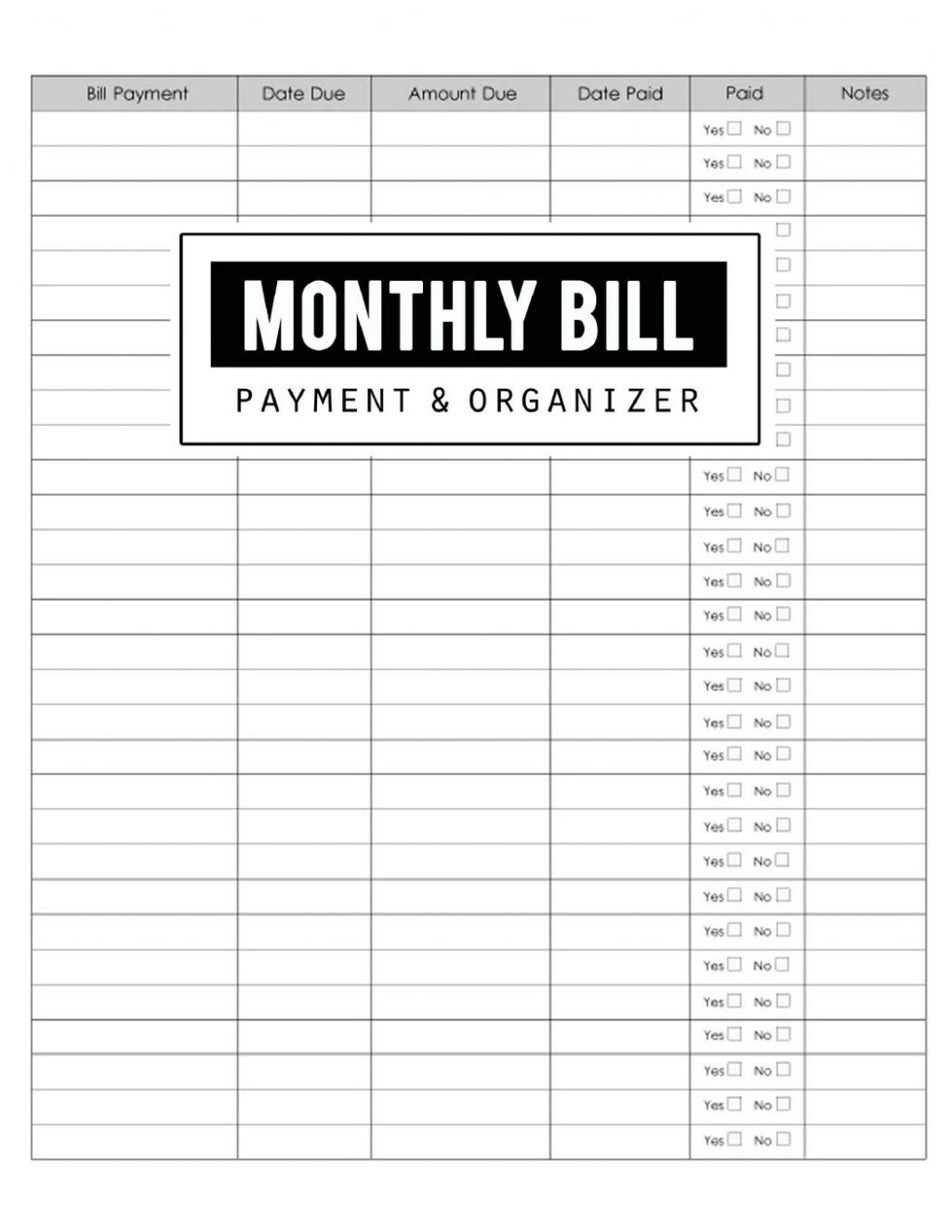 Blank Printable Monthly Bill Pay Worksheet | Example  Free Printable Bill Pay Sheets