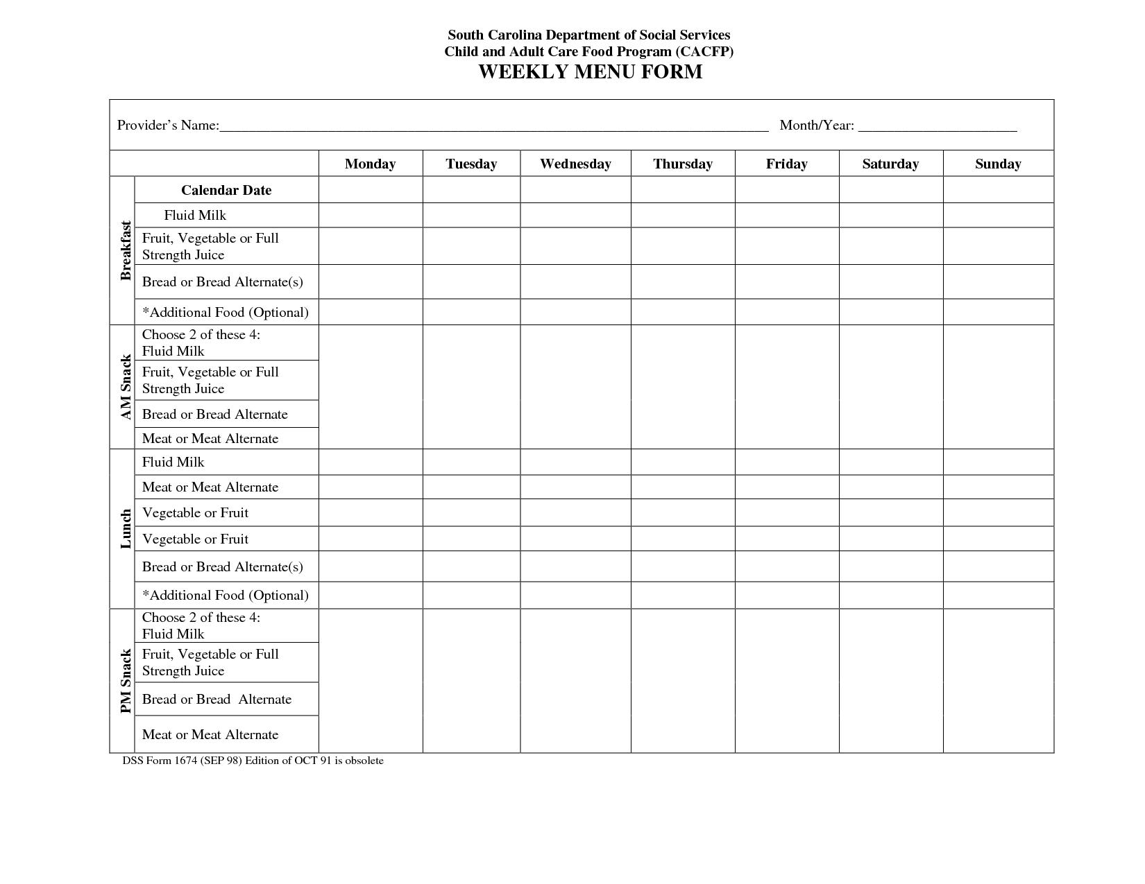 Blank Weekly Menu Calendar   Weekly Menu Template, Menu  Editable 7 Day Planner