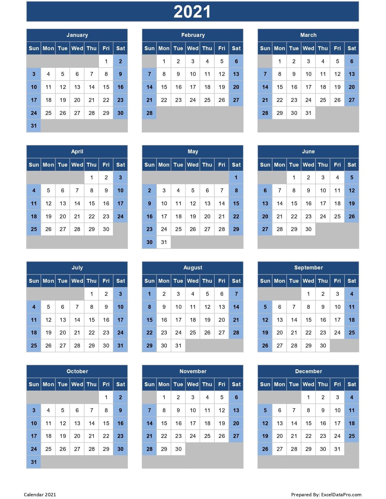 Calendar 2021 Excel Templates, Printable Pdfs & Images  Julian Calendar 2021 2021 Free Printable