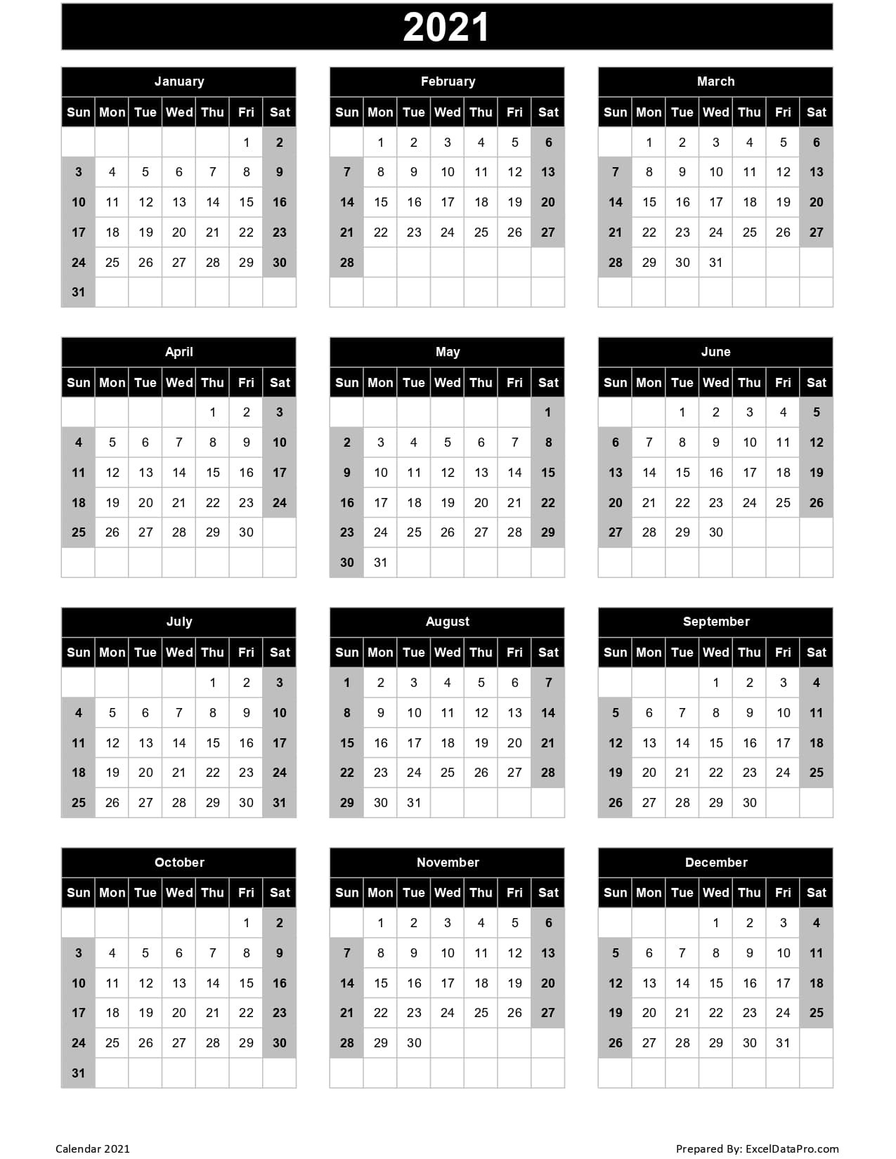 Calendar 2021 Excel Templates, Printable Pdfs & Images  Printable 2021 2021 Depo Calendar