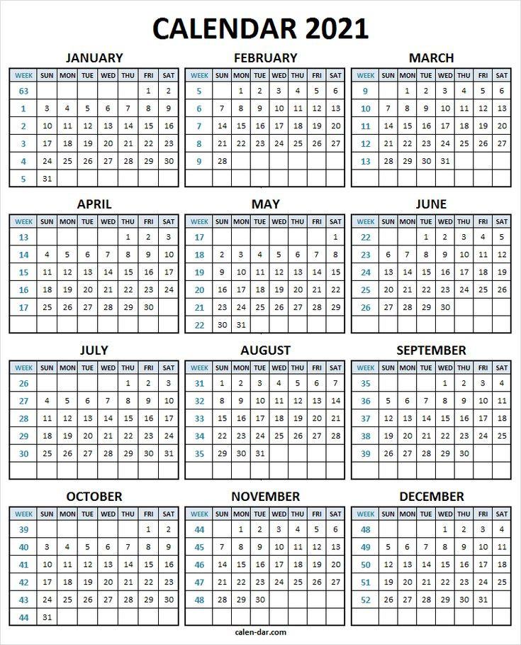 Calendar 2021 With Week Number - 2021 Printable Calendar  Weeknum Calendar