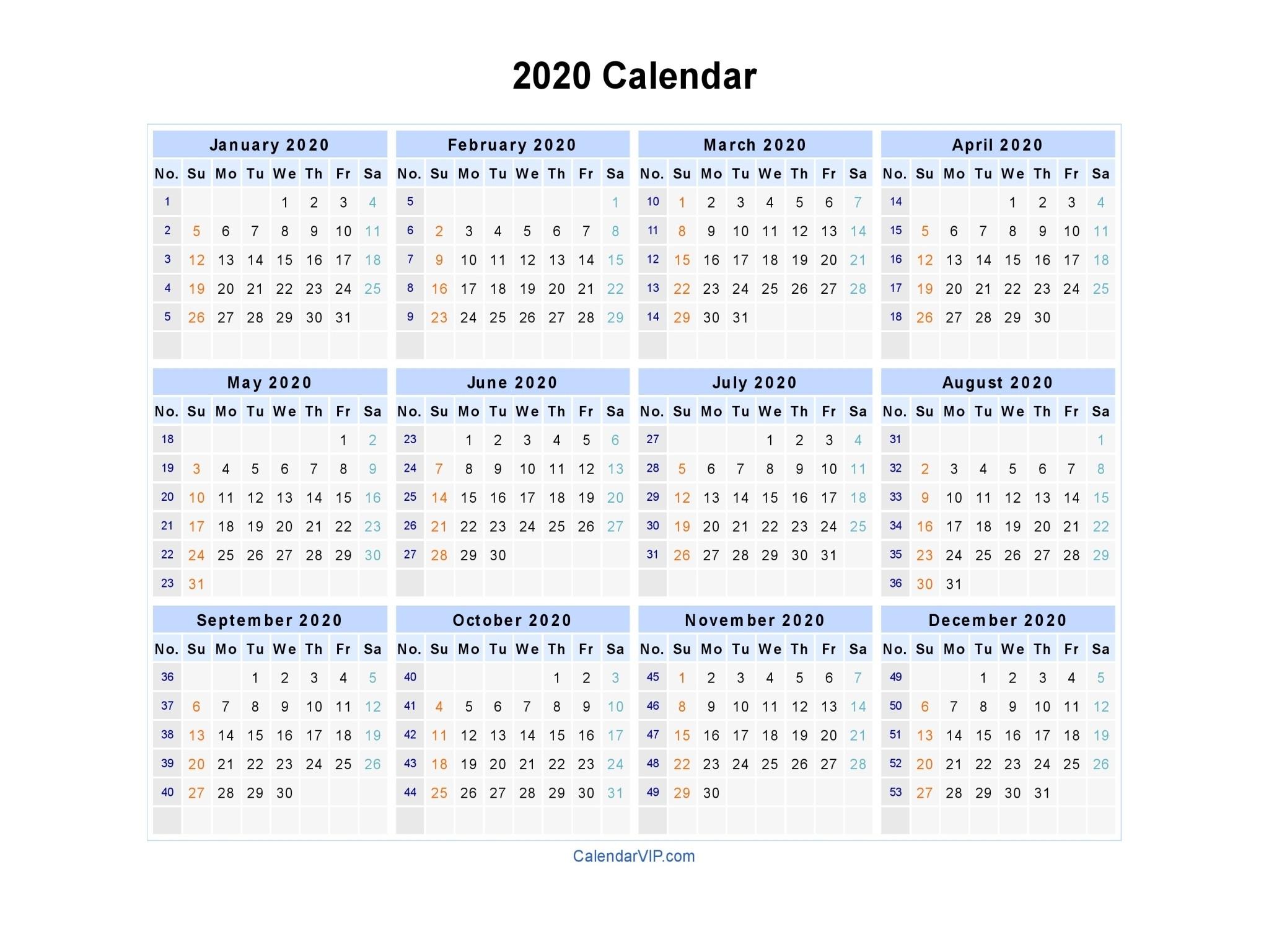 Calendar Templates 2020 Week Numbers | Example Calendar  Calendar By Week Number Pdf