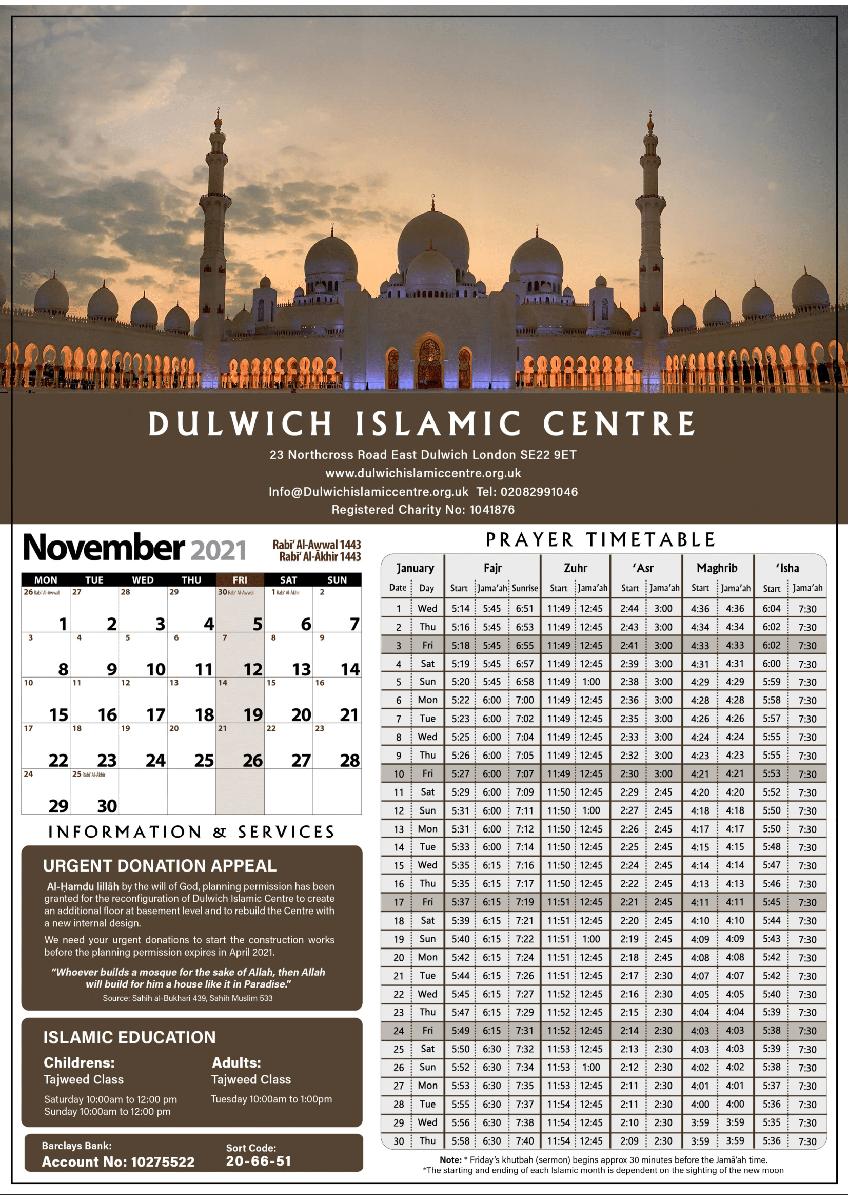 Calendar & Timetable - Dulwich Islamic Centre  Printable Muslim Prayer Times Whole Year 2021