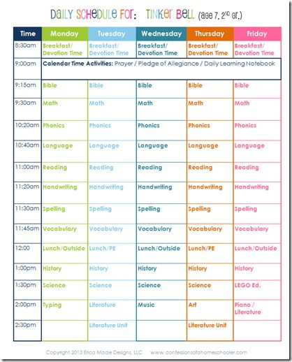 Daily Homeschool Schedule: 2Nd Grade - Confessions Of A  Free Printable Homeschool Daily Schedule