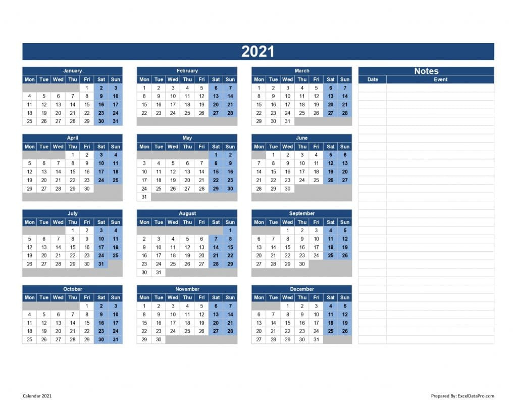 Download 2021 Yearly Calendar (Mon Start) Excel Template  2021 Yearly Calendar Printable Free With Notes