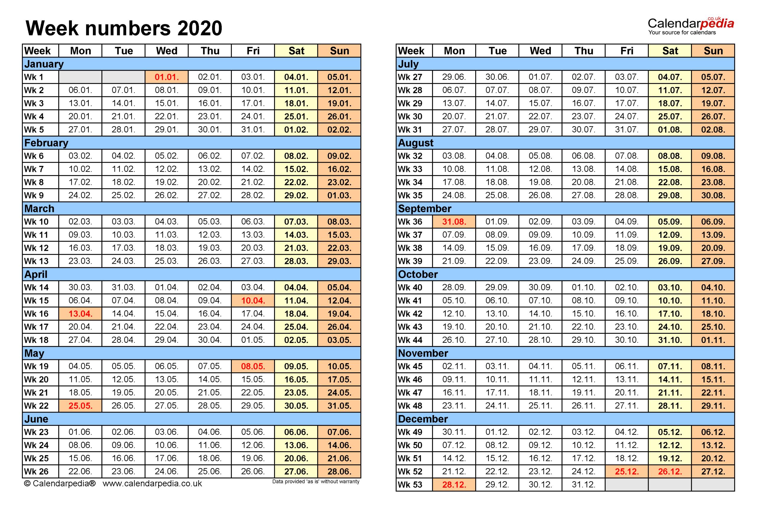 Excel Calendar With Week Numbers 2021 | Calendar  Calendar By Week Number Pdf
