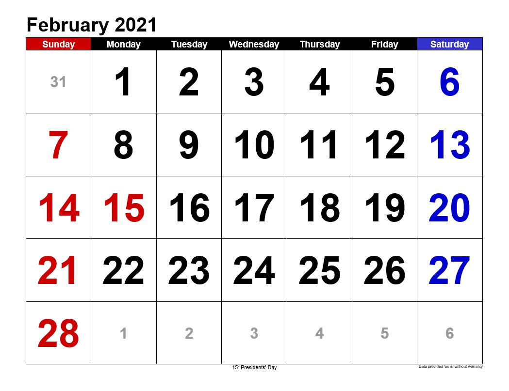 February 2021 Calendar In Landscape | Allcalendar  February 2021 Calendar