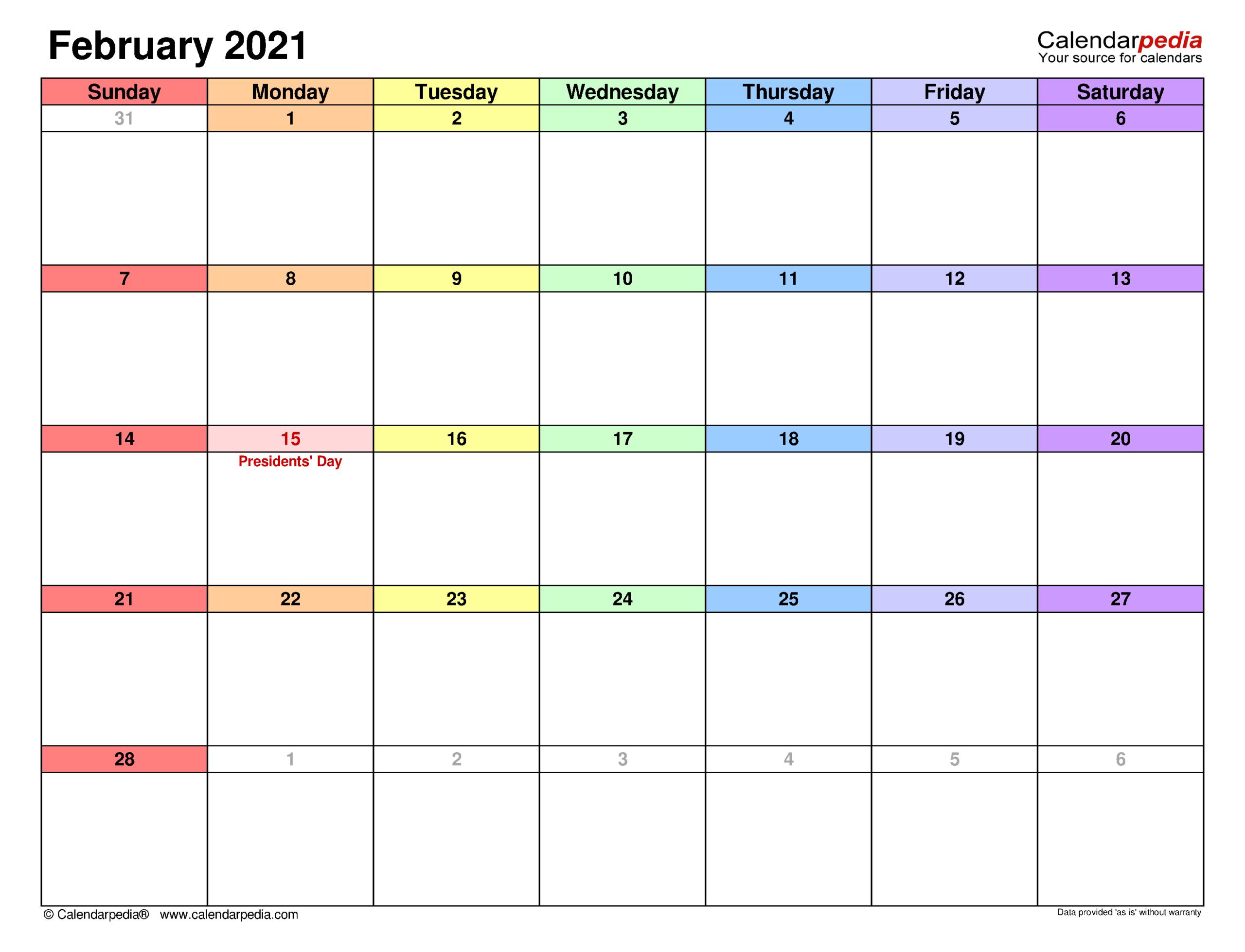 February 2021 Calendar   Templates For Word, Excel And Pdf  February 2021 Calendar