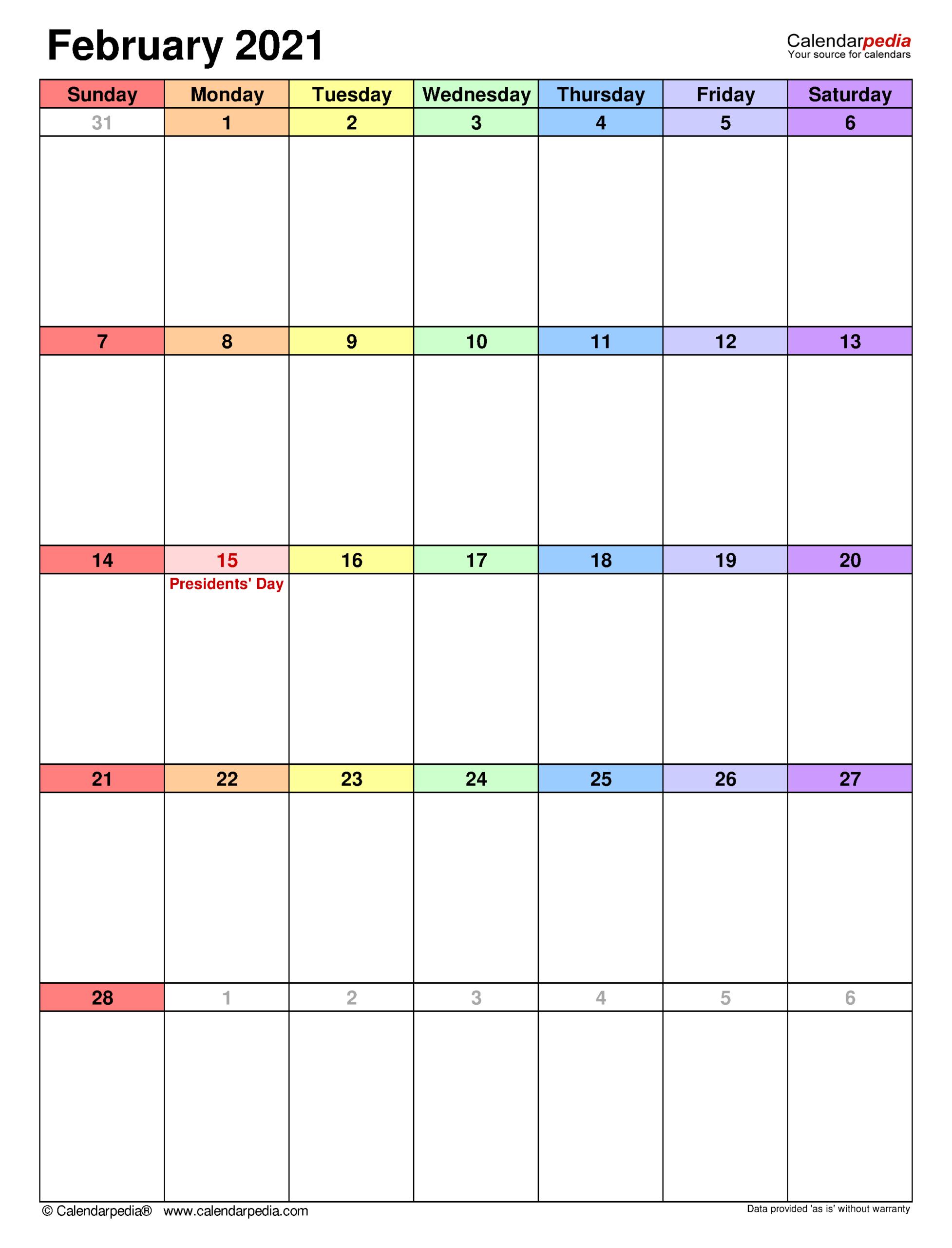 February 2021 Calendar   Templates For Word, Excel And Pdf  February 2021 Calendar Printable