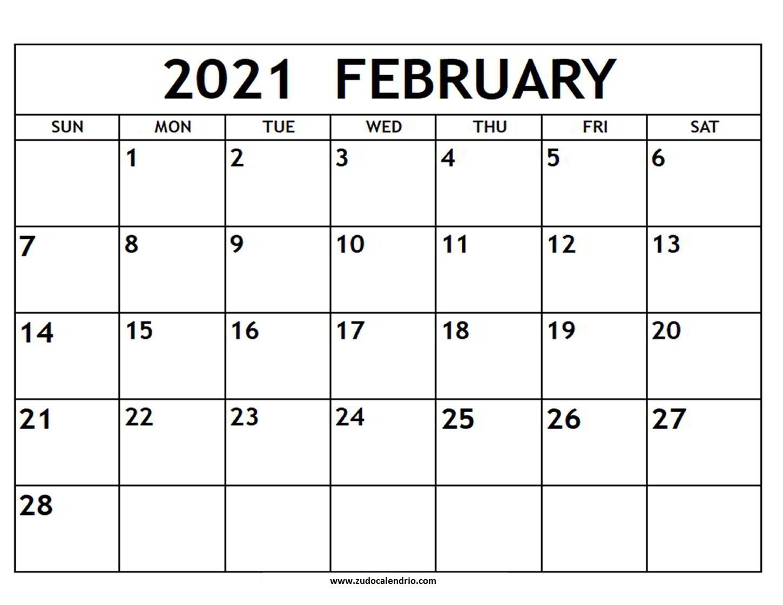 February 2021 Calendar With Notes   Zudocalendrio  Free Blank Printable Monthly Calendar 2021