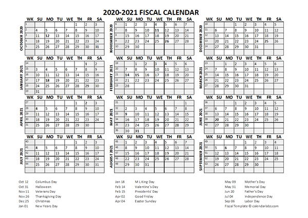 Fiscal Calendar 2020-21 Templates - Free Printable Templates  Aus 2021-2021 Financial Year Period