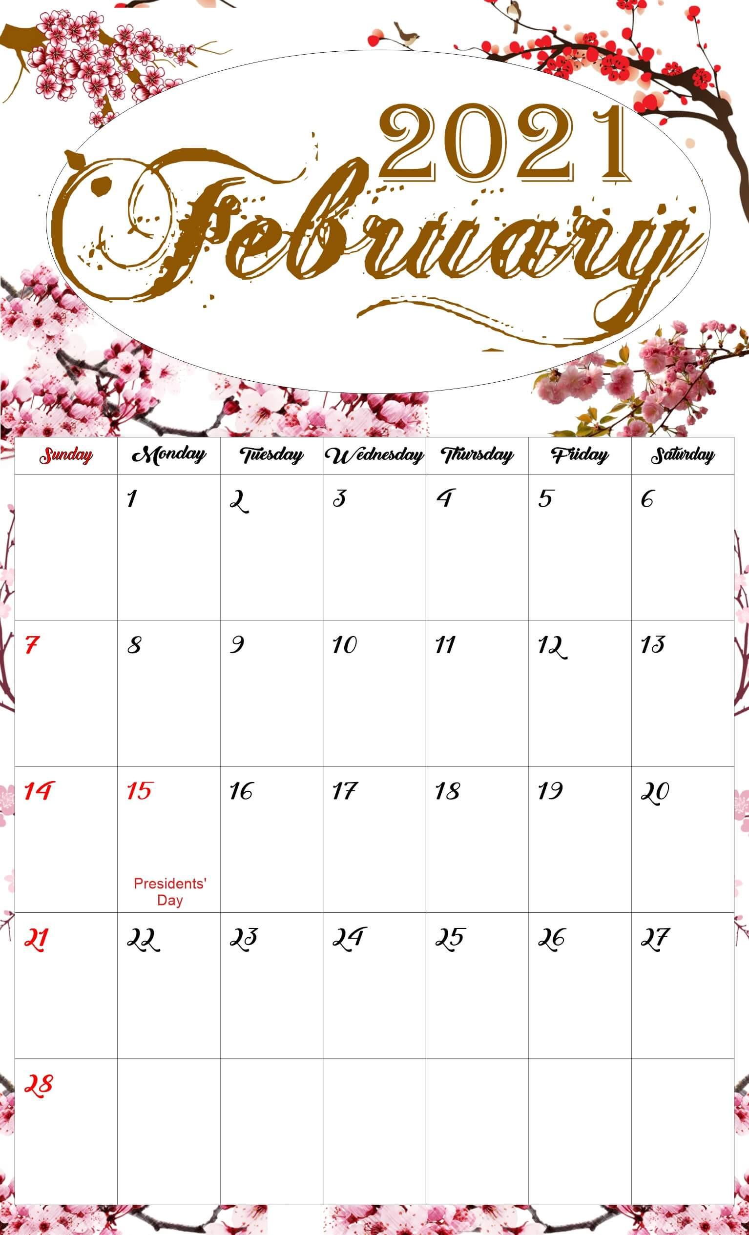 Floral February 2021 Calendar Printable - Free Printable  February 2021 Calendar Printable