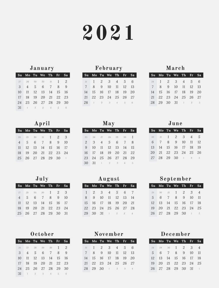 Free 12 Month Word Calendar Template 2021 : Free Printable  2021 Yearly Calendar Printable Free With Notes
