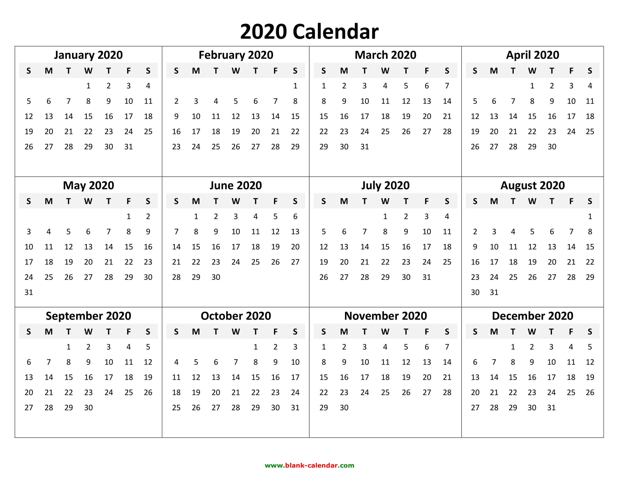 Free 2020 Printable Calendar Templates - Create Your Own  Free Editable Calendar Templates Printable