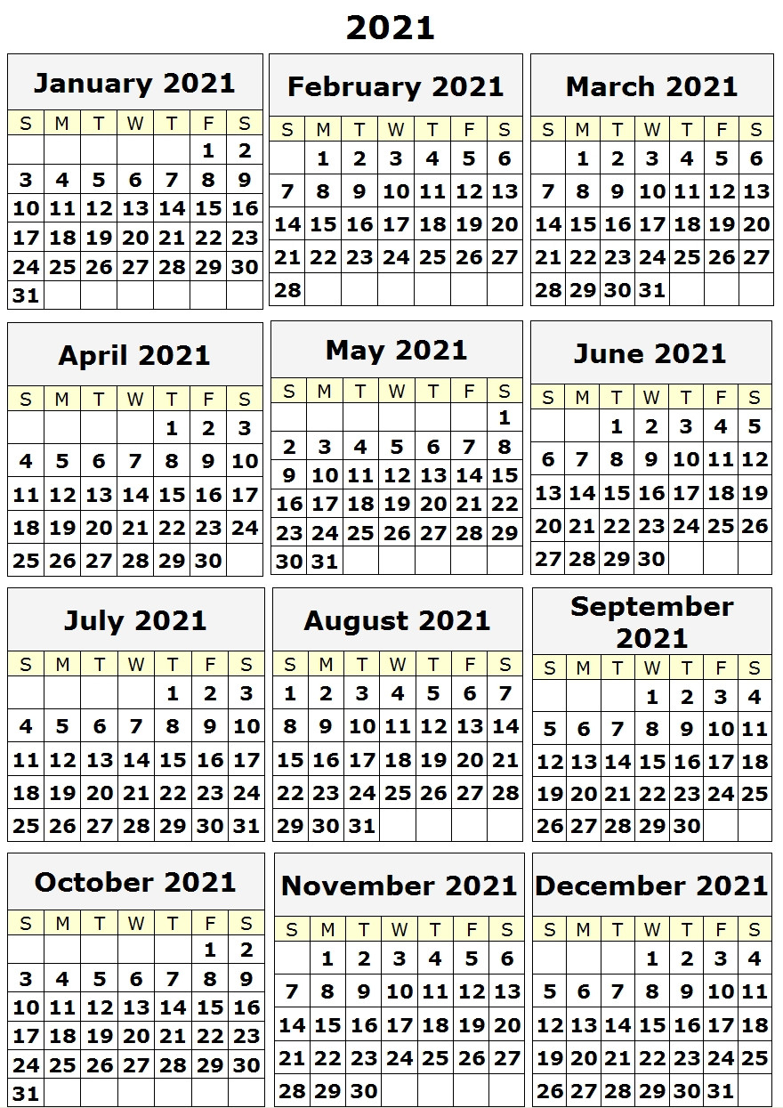 Free 2021 Yearly Calender Template : Printable Calendar  Julian Calendar 2021 2021 Free Printable