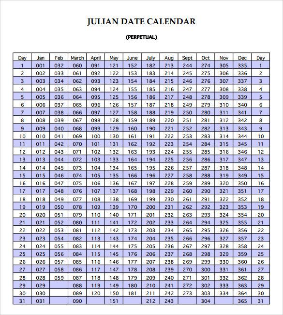 Free 7+ Julian Calendar Templates In Pdf   Psd  Army Julian Date