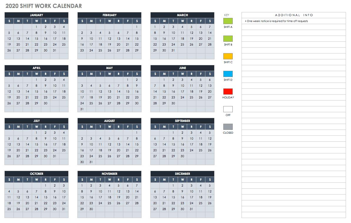 Free Blank Calendar Templates - Smartsheet  Color Shift Calendar