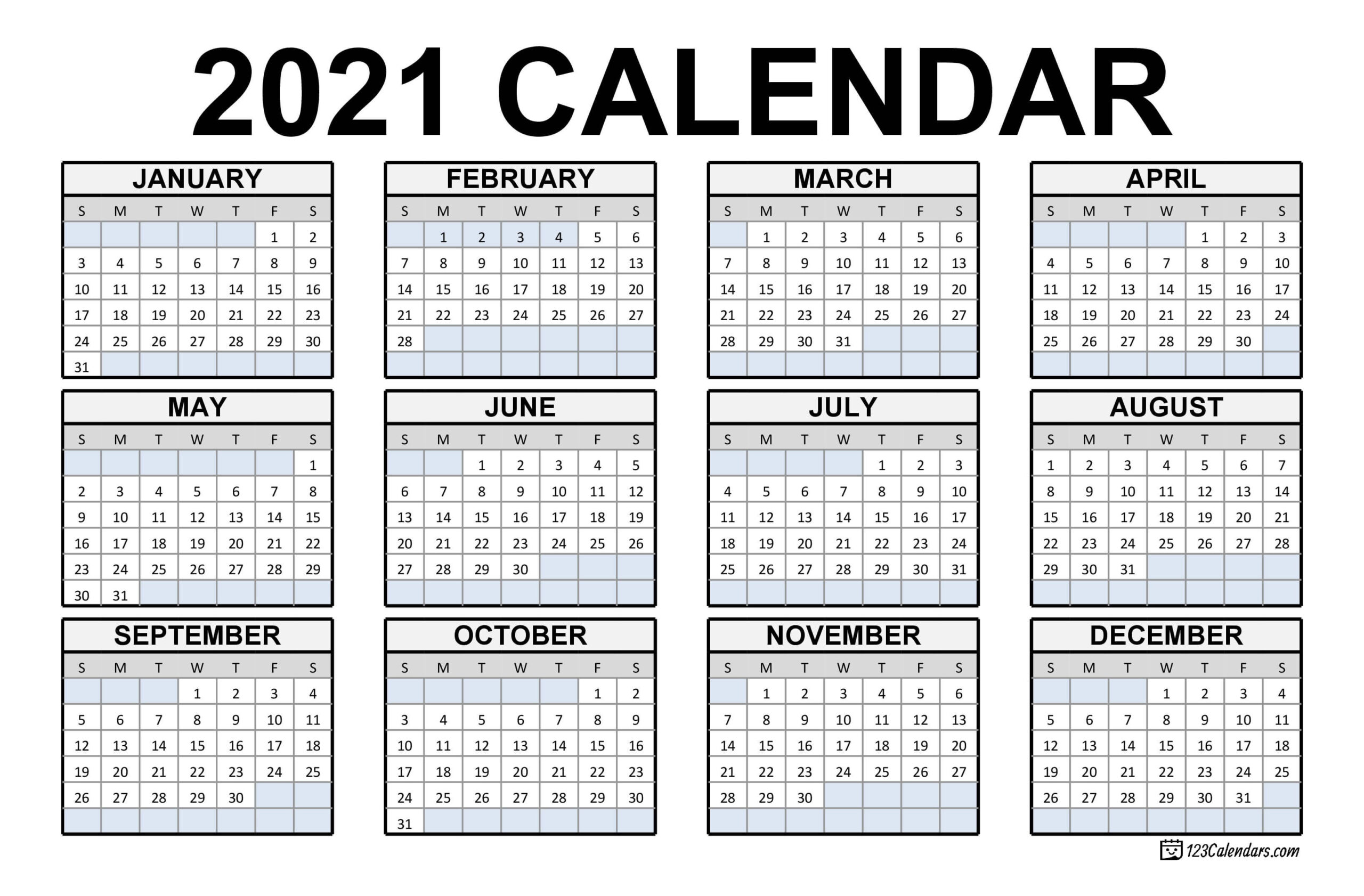 Free Download Canadian 2021 Calendar / 2021 Calendar With  Free Blank Printable Monthly Calendar 2021