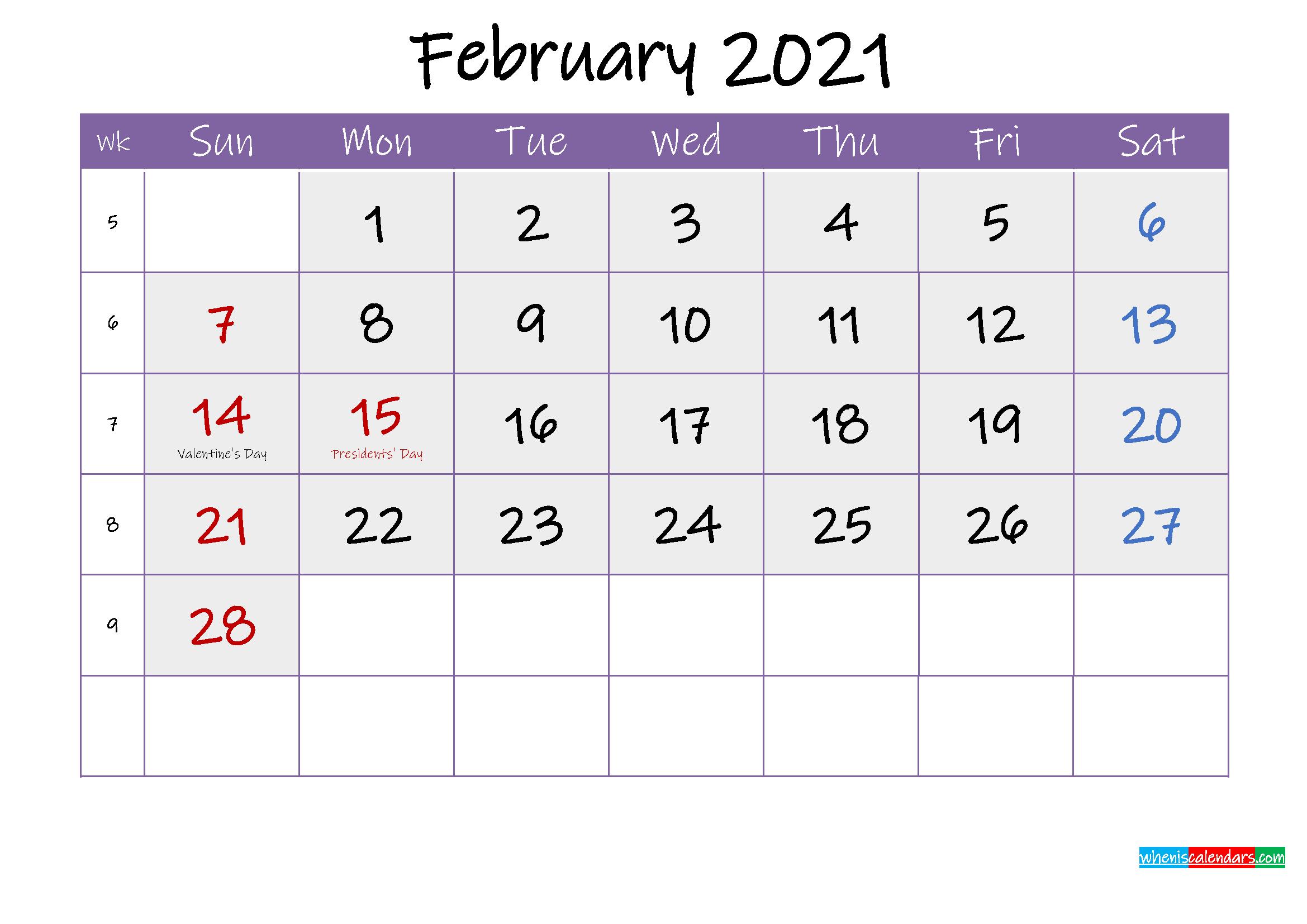 Free February 2021 Printable Calendar With Holidays  February 2021 Calendar