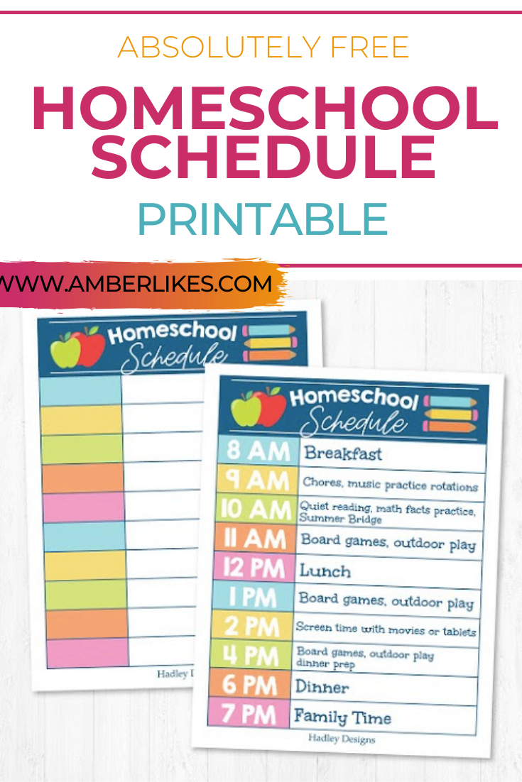 Free Homeschool Schedule Printable | Homeschool Daily  Free Printable Homeschool Daily Schedule