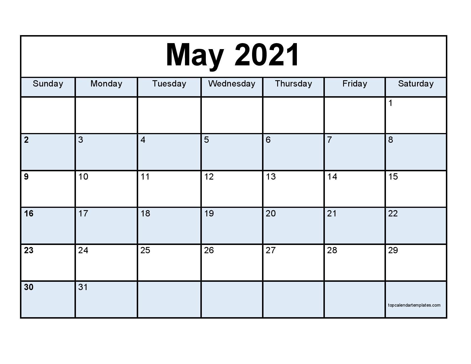 Free May 2021 Calendar Printable - Blank Templates  Free Blank Printable Monthly Calendar 2021