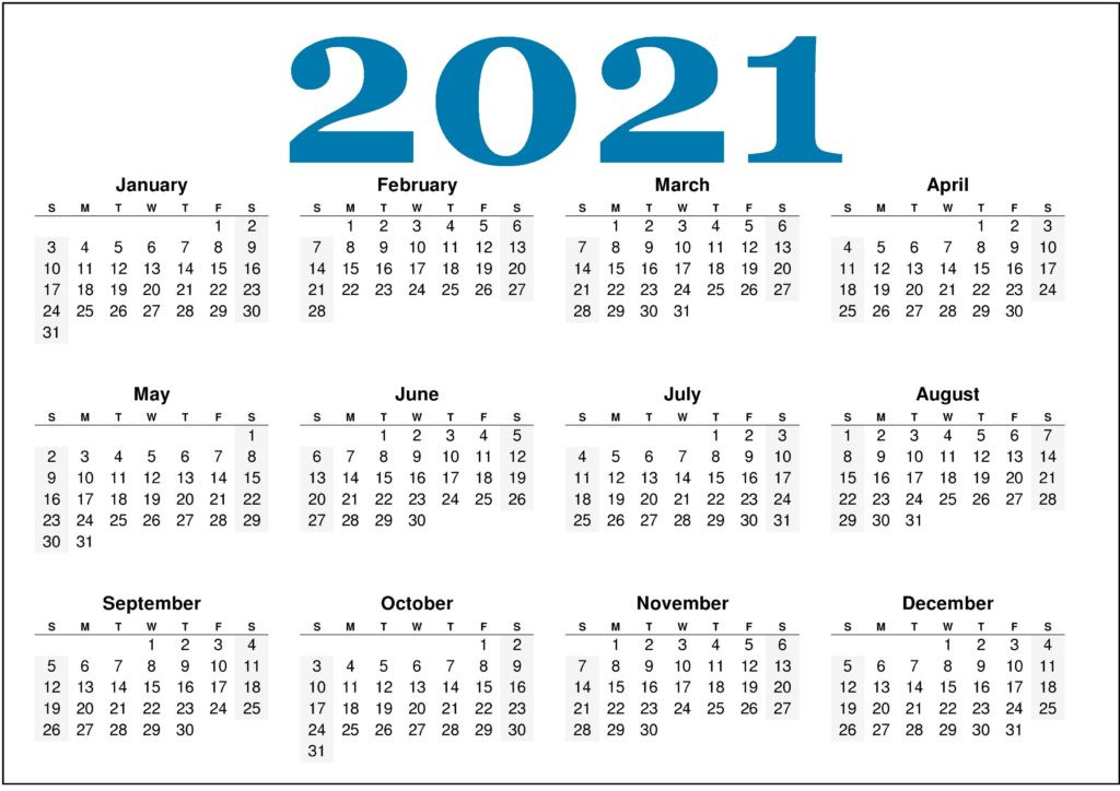 Free Monthly 2021 Printable Calendar Template  Free Printable One Month Calendar