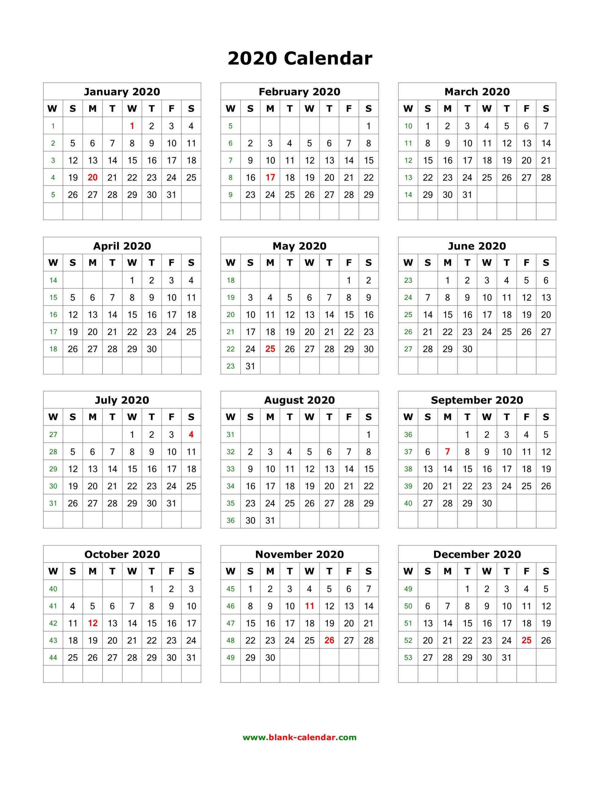 Free Printable 12 Month Calendar 2020 | Qualads  Free Printable One Month Calendar