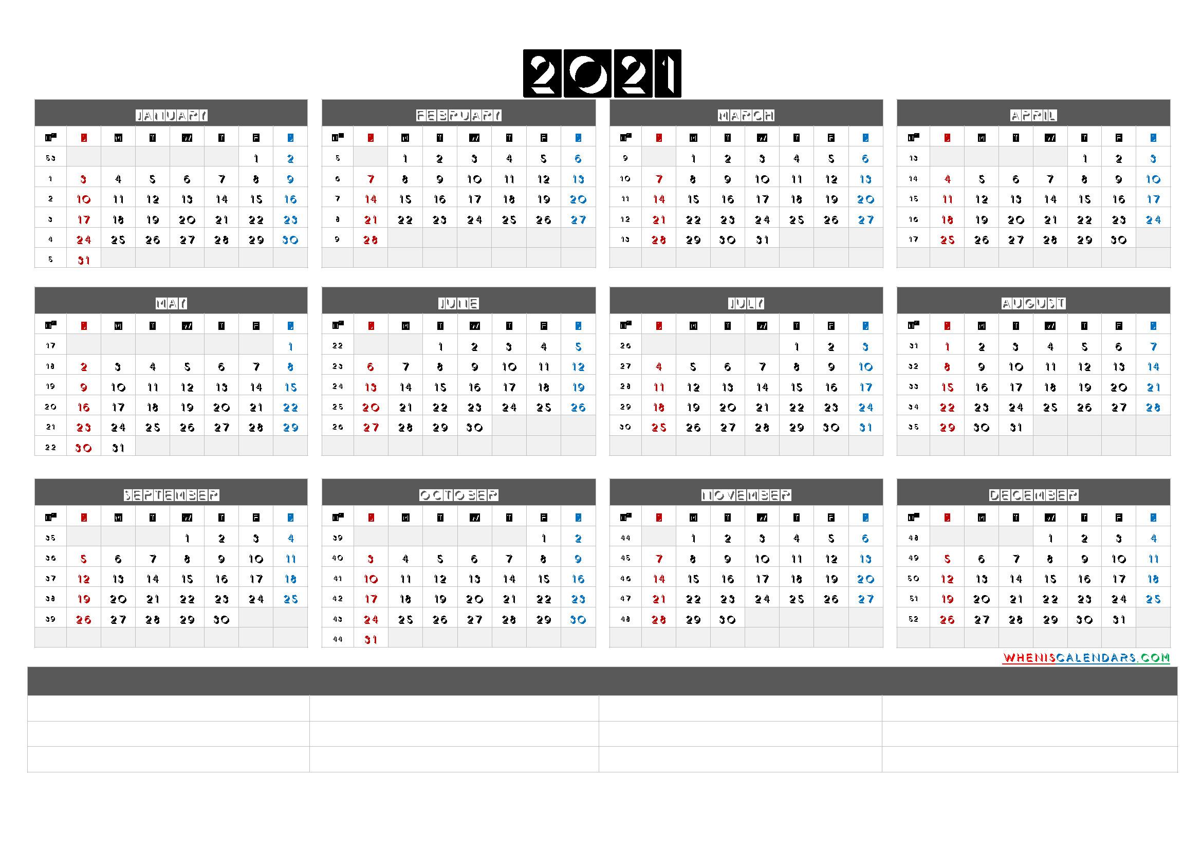 Free Printable 2021 Yearly Calendar With Week Numbers (6  2021 Yearly Calendar Printable Free With Notes
