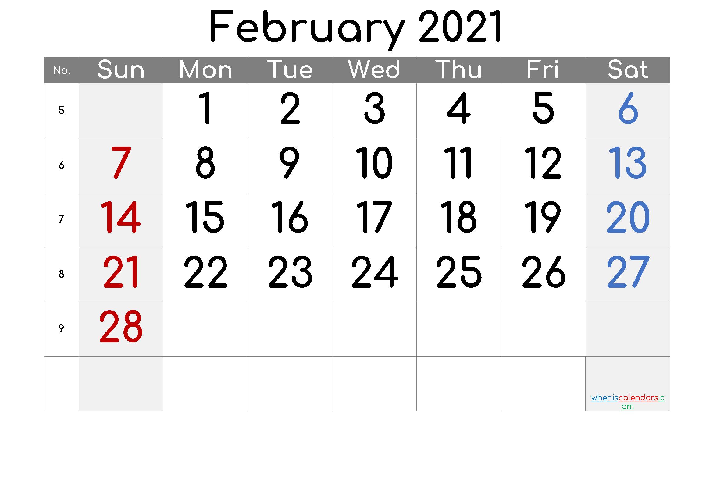 Free Printable February 2021 Calendar - 6 Templates  February 2021 Calendar Printable