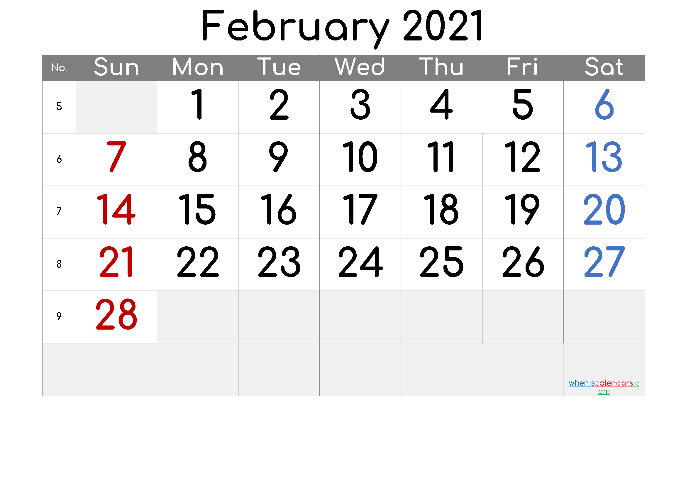 Free Printable February 2021 Calendar (Premium) - Free  February 2021 Calendar
