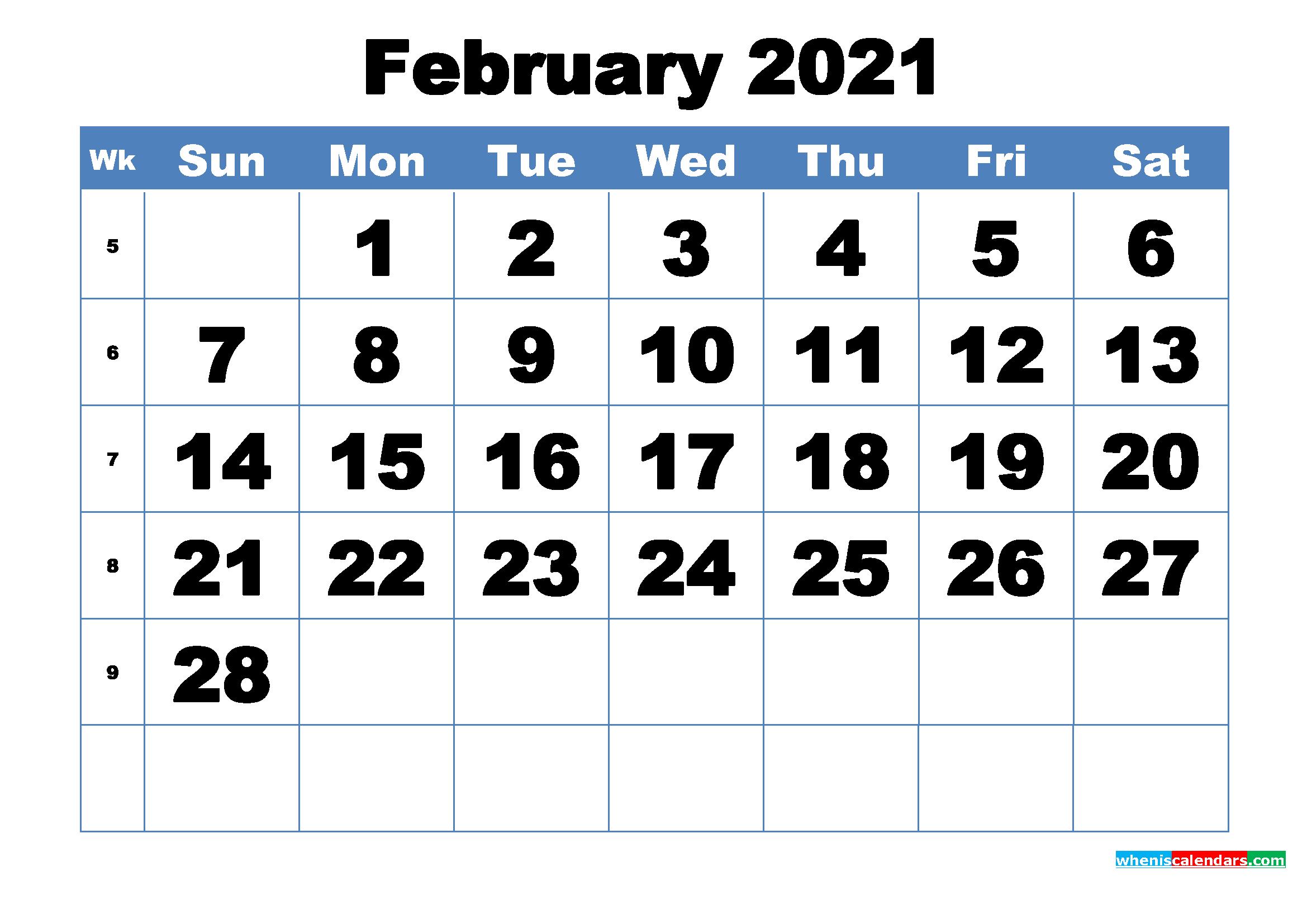 Free Printable February 2021 Calendar Template Word, Pdf  February 2021 Calendar Printable
