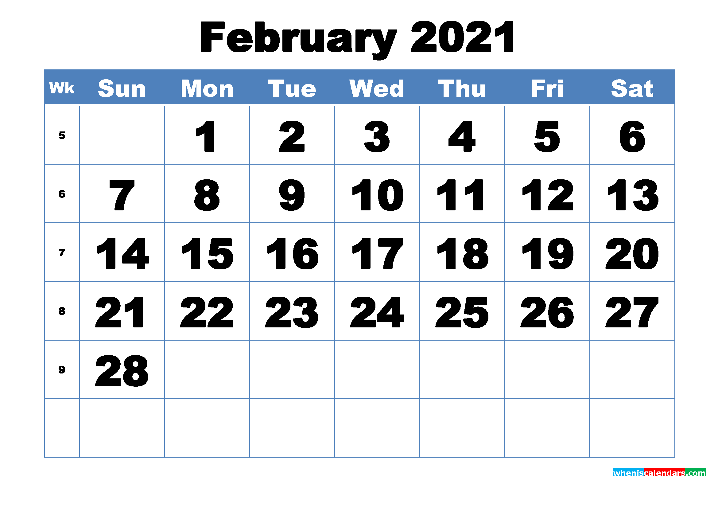 Free Printable February 2021 Calendar Template Word, Pdf  February 2021 Calendar