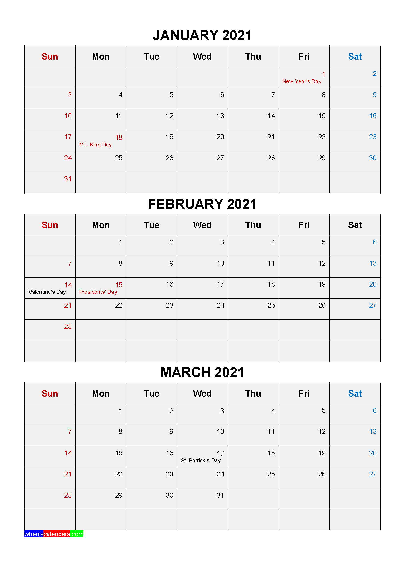 Free Printable January February March 2021 Calendar 3  2021 Printable 3 Monthly Per Page Calendar