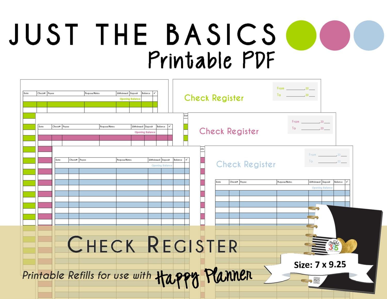 Happy Planner Printable Check Register Planner Inserts Pdf  Small Printable Calendar Check Register