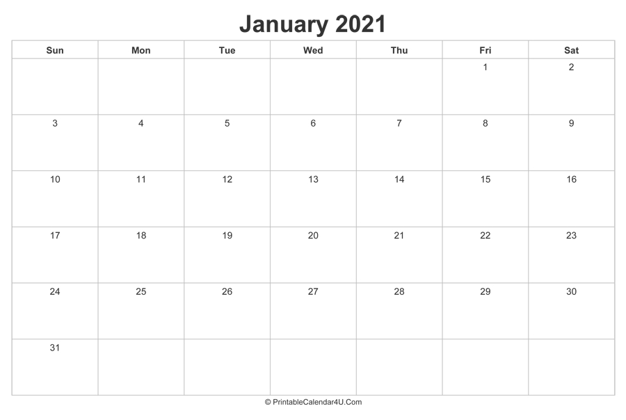 January 2021 Calendar Printable (Landscape Layout)  12 Month Financial Year Calendar 18 To 19
