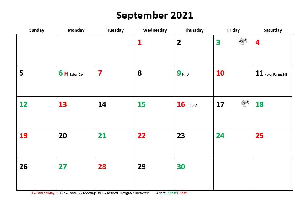 Jfrd 56 Hour Firefighter Shift Calendar 2021  Color Shift Calendar
