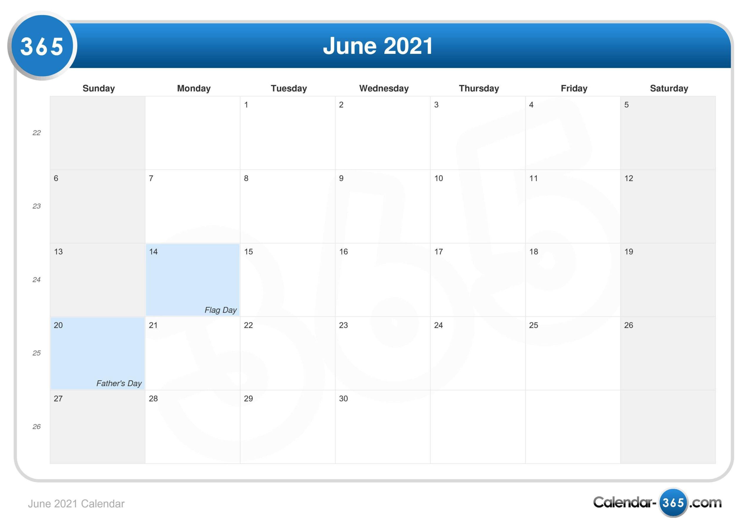 June 2021 Calendar  12 Month Financial Year Calendar 18 To 19