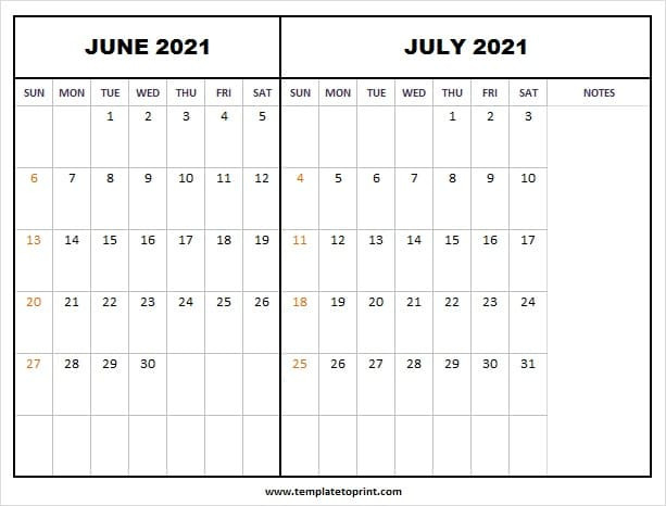 June July Calendar 2021 With Notes   Free 2021 Calendar  May June July With Notes Printable