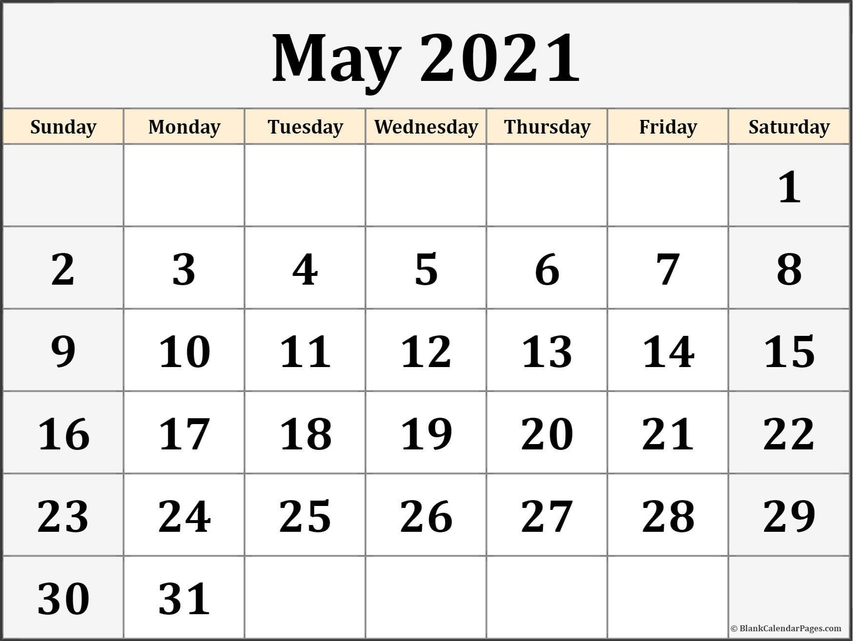 May 2021 Blank Calendar Templates.  Free Blank Printable Monthly Calendar 2021