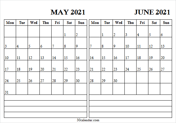 May June 2021 Calendar With Notes - May Calendar 2021 Print  May June July With Notes Printable