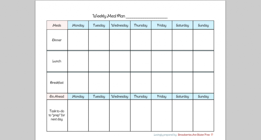 Meal Plan Printable Chart - Hoskin Pertaining To 7 Day  7-Day Weekly Planner Template