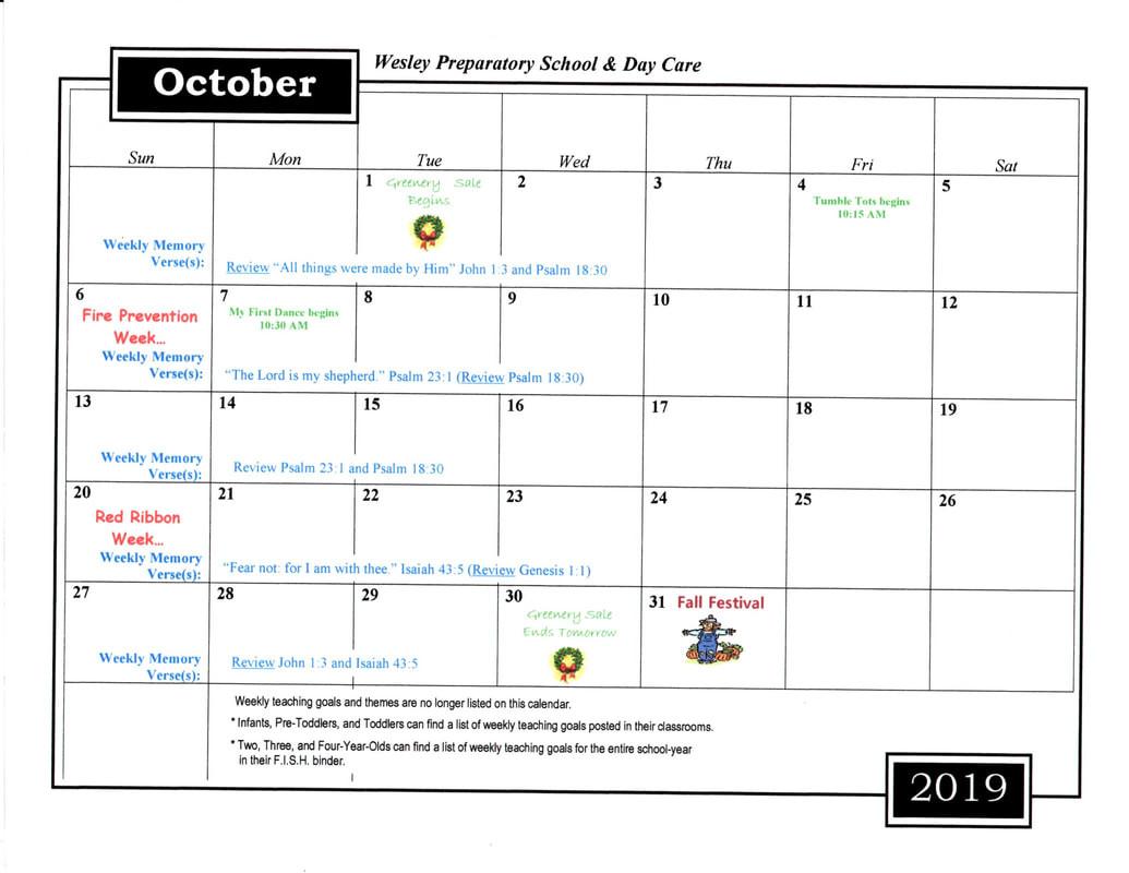 Monthly Calendar - Wesley United Methodist Church  Www. United Methodist Church - Weekly Calendar