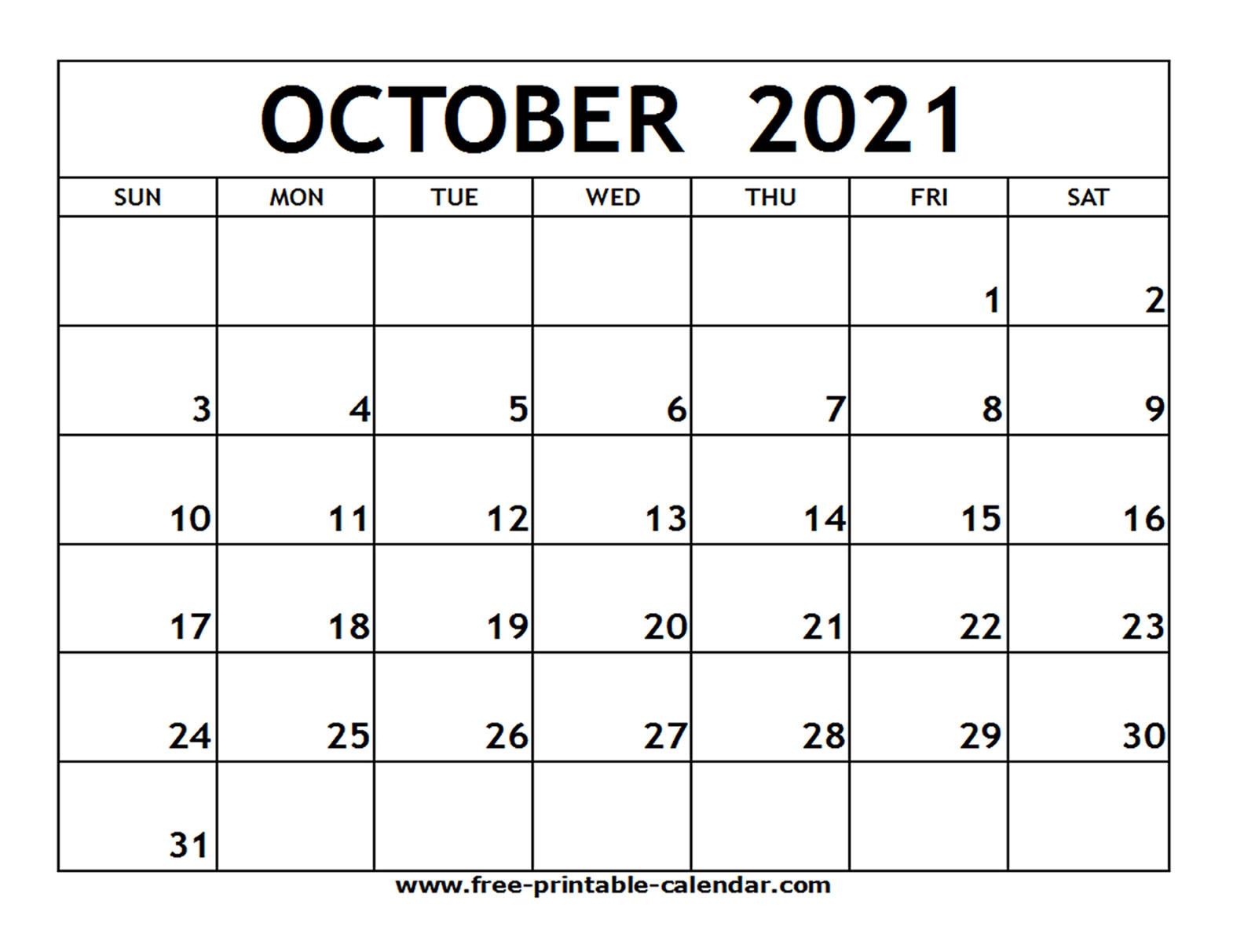 October 2021 Calendar Free Printable   2021 Printable  Free Blank Printable Monthly Calendar 2021