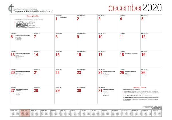 Official United Methodist Program Calendar 2021 | Cokesbury  Www. United Methodist Church - Weekly Calendar