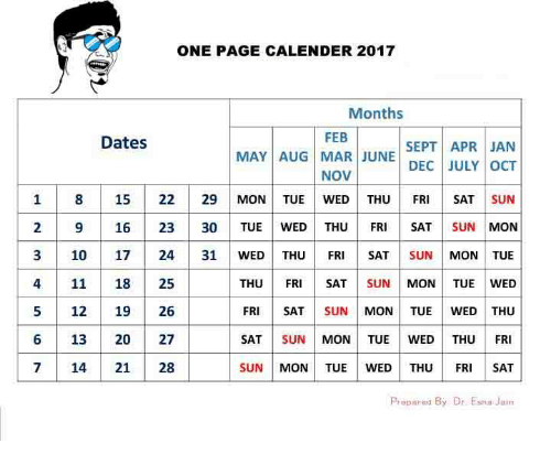 One Page Calender 2017 Months Feb Dates Sept Apr Jan May  12 Month Financial Year Calendar 18 To 19